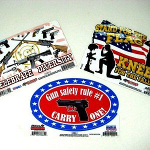 Decals Pro Guns N American Flag- 3 Patriotic Stick